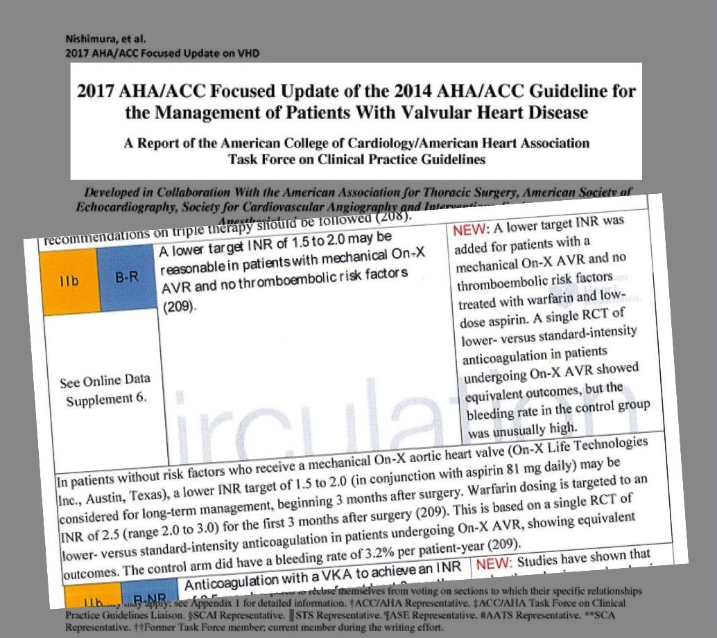 linee guida AHA ACC valvole meccaniche onx aortica basso inr